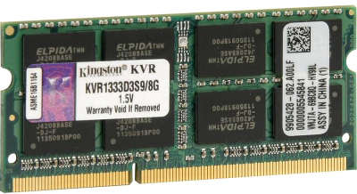 Модуль памяти SO-DIMM DDR-III 8192 Mb DDR1333 Kingston KVR1333D3S9/8G
