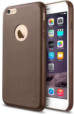 Чехол Spigen SGP Leather Fit для iPhone 6 Plus/6S Plus, Olive Brown [SGP11401]