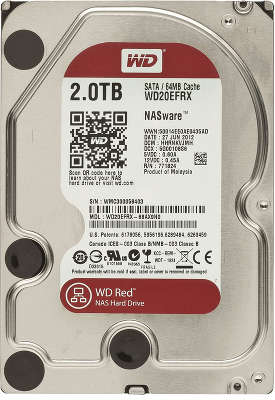 Жёсткий диск SATA-3 2TB [WD20EFRX ] WD RED , IntelliPower, 64MB Cache