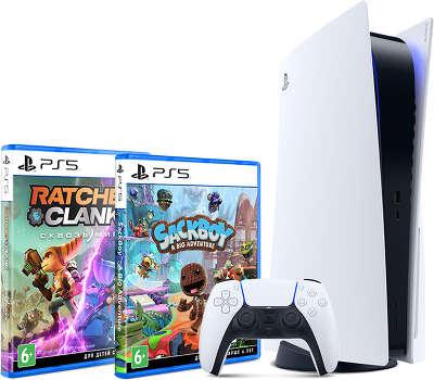 Консоль Sony PlayStation 5 в комплекте с играми Ratchet & Clank: Сквозь Миры и Сэкбой: Большое прикл