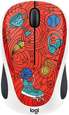Мышь беспроводная Logitech Wireless Mouse M238 Doodle Collection USB CHAMPION CORAL (910-005054)<wbr>
