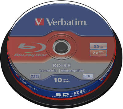 BD-RE (Blu-Ray) диск Verbatim 2x 25Gb Cake Box (10)
