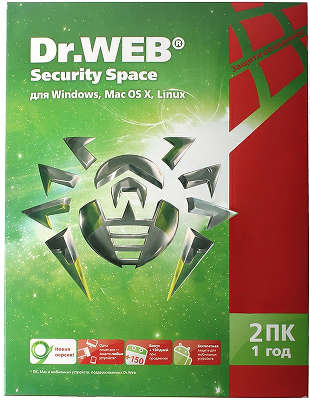 Антивирус Dr.Web Security Space, Box, 2ПК, 1год [BHW-B-12M-2-A3]