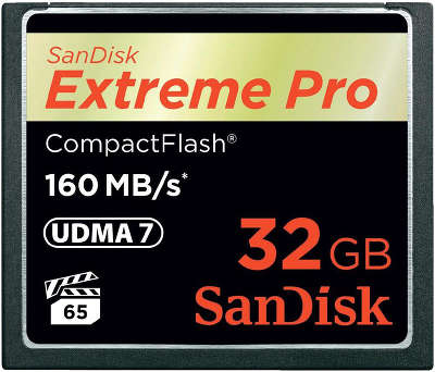 Карта памяти 32 Гб Compact Flash SanDisk Extreme Pro 160MB/<wbr>s [SDCFXPS-032G-X46]