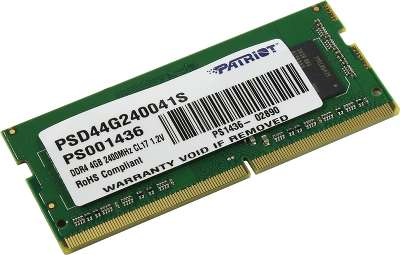 Модуль памяти SO-DIMM DDR4 4096Mb DDR2400 Patriot [PSD44G240041S]