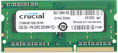 Модуль памяти SO-DIMM DDR-III 2048 Mb DDR1600 Crucial 1.35V