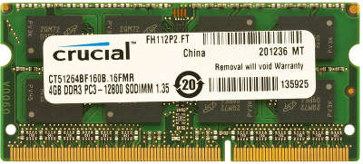 Модуль памяти SO-DIMM DDR-III 4096 Mb DDR1600 Crucial 1.35V