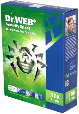 Антивирус Dr.Web Security Space, Box, 1год, 3ПК [BHW-B-12M-3-A3]