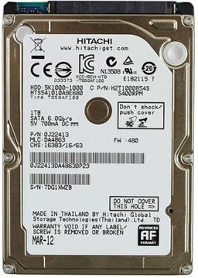 "Жёсткий диск 2.5"" 9.5mm SATA-III 1000GB (HTS541010A9E680] Hitachi Travelstar 5K1000 5400rpm, 8MB Cache"