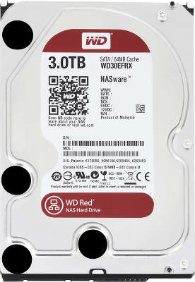 Жёсткий диск SATA-3 3TB [WD30EFRX ] WD RED , IntelliPower, 64MB Cache