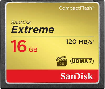 Карта памяти 16 Гб Compact Flash SanDisk Extreme 120MB/s [SDCFXS-016G-X46]