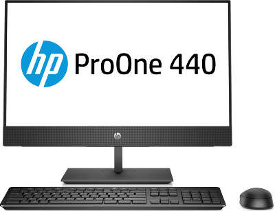 "Моноблок HP ProOne 440 G4 23.8"" FHD i3-8100T/4/1000/Multi/WF/BT/Cam/Kb+Mouse/W10Pro,черный (4NU52EA)"