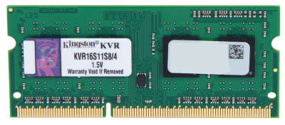 Модуль памяти SO-DIMM DDR-III 4096 Mb DDR1600 Kingston KVR16S11S8/<wbr>4